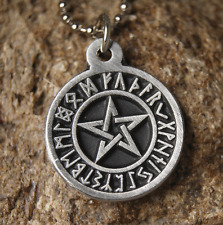 Rune Pentagram Pendant  Pewter Necklace with Chain