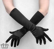 Gothic Formal Black SATIN EVENING GLOVES Long Elbow Length Burlesque Opera G16