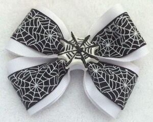 "Girls Hair Bow 4"" Wide Black White Spider Web w Web Flatback French Barrette"