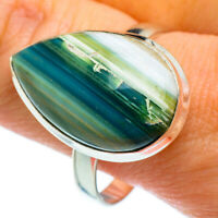Green Botswana Agate 925 Sterling Silver Ring Size 12.75 Ana Co Jewelry R40388F