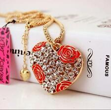Pendant Betsey Johnson Charm jewelry  hot women rhinestone Roses heart necklaces
