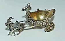 GOAT PULLING CHARIOT, CHERUB, minature - 19th Century Cont. Silver         (4V6)