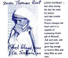MUTTER TERESA Autograph auf Gebetszettel mit Widmung († 1997) Autogramm Rarität