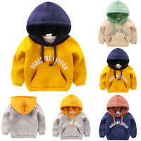 Kids Boy Girl Hoodie Jumper Sweatshirt Warm Winter Hooded Sweater Coat Outerwear