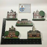 Shelia's Collectible Wood House Ledge Sitters 5-Piece Colonial America Set