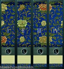 File Art 4x Ordner-Etiketten FLORAL PATTERN Ordner RÜCKENSCHILDER Sticker 046