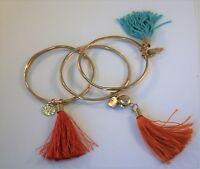 Set of 3 Gold tone disc & tassel bangle bracelets