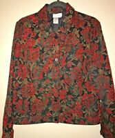 Coldwater Creek Red Floral Corduroy Jacket Button Front Reversible Soft Woman M