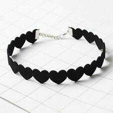 Sweet Women Girls Black Velvet Love Hearts Choker Collar Necklace Chic Jewelry