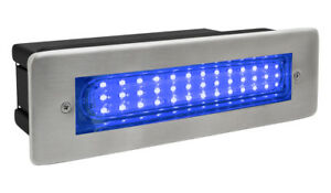 LED Brick Light Wall Light Recessed Stainless Steel in Blue IP68