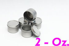 2 Oz Deep Round Metal Tin Container - candles,crafts,storage,su rvival (5 Pack)
