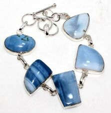 "Plated Bracelet 8.5"" Unique Gift Gw Owhyee Blue Opal 925 Sterling Silver"