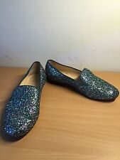 Christian Louboutin Green Glitter Flat Shoes, Size 39, Uk 5,5 Collectors Item!