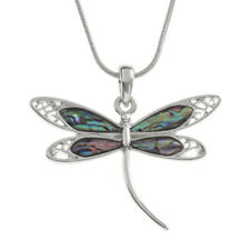 "Dragonfly Charm Pendant Fashionable Necklace - Abalone Paua Shell - 17"" Chain"