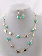 Layered Gold With Blue Green Accent Necklace Earrings Set Fashion Jewelry NEW