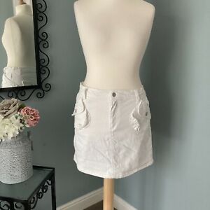 White Denim Mini Skirt Size 16 BonPrix Cargo Pockets Short Skirt 96% Cotton