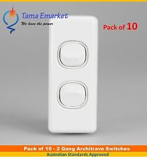 10 x 2 Gang Architrave Light Switch Double White Electrical Narrow Arc Slim SAA