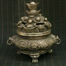 Chinese Exquisite Silver Copper Handmade Incense Burners Statue 34531