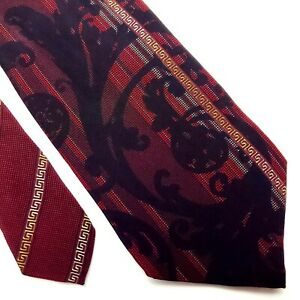 Vintage Gianni Versace Silk Tie Red Floral Abstract Print Classic