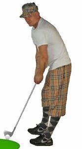 Unisex S/M Golfing Plus Four Pub Golf Tartan Trousers Sports Fancy Dress Pants