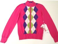 Ladies Full-Zip Argyle Golf Sweater, Pink w/Ivory, Lime & Purple