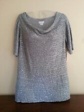 NWT JACLYN SMITH Women's S Gray Sequin Polyester Acrylic Short Sleeve Sweater
