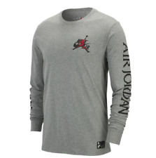 Nike Air Jordan Classic Logo Tee Mens T-Shirt Grey Size M Sportswear Running Top