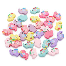 30pcs Multicolor Girl Elephant Shape Natural Wood Spacer Beads Jewelry Findings