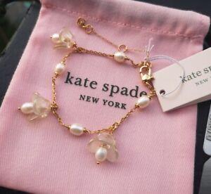 Kate Spade New York Gold Tone Painted Petal Charm Bracelet