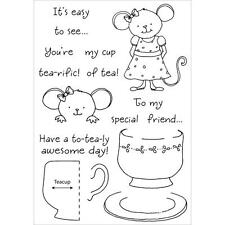 INKY ANTICS RUBBER STAMPS CLEAR TEACUP MOUSE STAMP SET