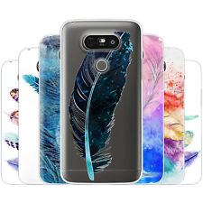 Dessana Drawn Feathers TPU Silicone Protection Case Phone Cover For LG