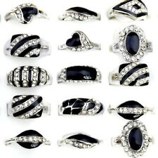10Pcs Wholesale Lots Mixed Fashion Jewelry Crystal Rhinestone Silver Plate Rings