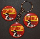 1961 Topps Baseball Wrapper Set of 3 Key Chain, Magnet and Pinback Button 1.50