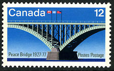 Canada 737, MNH. Peace Bridge. Canadian, US and UN Flags, 1977