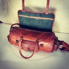 handmade brown travel luggage vintage overnight real leather gym duffel bag