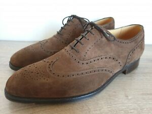 CROCKETT & JONES Brown Suede Full Brogue Wingtip Oxford Shoes Size 13 D MINT