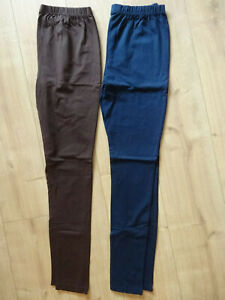 2 Leggings, Baumwolle, stretch, braun dunkelblau, 38 - 40, ungetragen!!