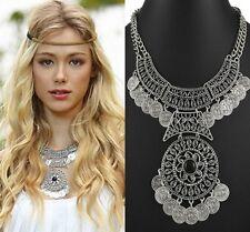 Fashion Women Vintage Charm Coins Tassel Pendant Choker Statement Bib Necklace