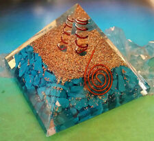 """New listing Huge 4"""" Orgone Turquoise Crystal Pyramid With Copper Wrapped Quartz Point, Reiki"""
