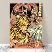 "Awesome Japanese SAMURAI DRAGON TIGER Art CANVAS PRINT 16x12""~ Kuniyoshi  #069"
