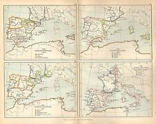 ANTIQUE MAP ~ THE SPANISH KINGDOMS 1030 - CHARLES V ~ MUSSULMANS ARAGON LEON etc