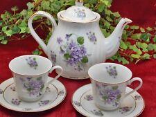 Wild Violets Porcelain Tea Set: Tea Pot, 2 Cups& Saucers, Made In USA