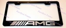 Mercedes AMG LASER Style Black Stainless Steel License Plate Frame W/ Bolt Caps