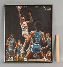 Vintage Signed 1970s Nba Basketball Dr Julius J Irving New York Nets Painting