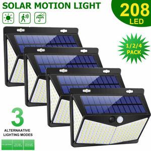 208LED Solar Power Wall Light PIR Sensor Outdoor Gargen Security Lamp Floodlight