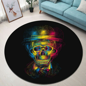 Black Background Colorful Fashion Skull Round Floor Mat Living Room Area Rugs