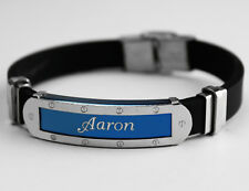 AARON - Mens Silicone & Blue Name Plate Engraved Bracelet - Gifts For Him