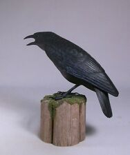 "9"" American Crow Original Carving/Birdhug"