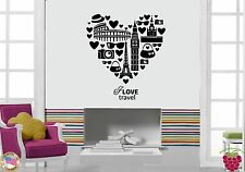 Wall Stickers Vinyl Decal Quote Inspire Message I Love Travel Heart  (z1855)