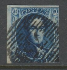 Belgium - 1850, 20c Blue - Wmk LL in Frame - 2 Margins - Used - SG 4 (Cat. £90)